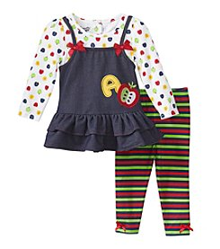 Nannette® Baby Girls' 3-Piece A Is For Apple Jumper Set