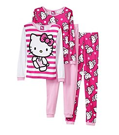 Hello Kitty® Girls' 4-10 4-Piece Dots And Bows Pajama Set