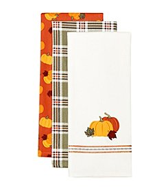 LivingQuarters 3-pk. Pumpkin Kitchen Towel Set