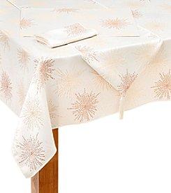 LivingQuarters Snowflake Jacquard Table Linens