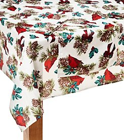 LivingQuarters Cardinal Pinecone Microfiber Table Linens