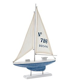 LivingQuarters Coastal Collection Wood Sailboat