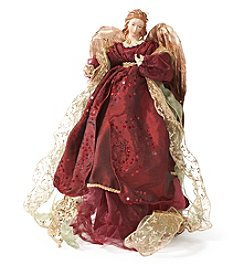 LivingQuarters Rubies and Gold Collection Burgundy Angel Figurine