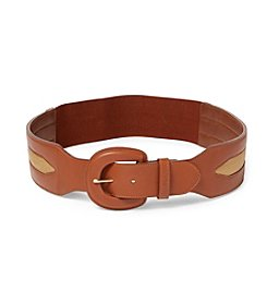 Lauren Ralph Lauren® Smooth Polyurethane With Canvas Stretch Belt