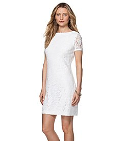 Chaps® Short-Sleeve Lace Dress