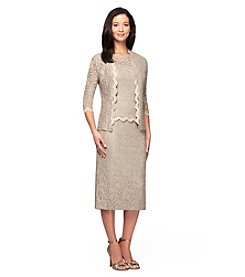 Alex Evenings® Tea Length Mockneck Jacket Dress