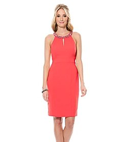 Laundry by Shelli Segal® Embellished Neck Cut Away Crepe Cocktail Dress