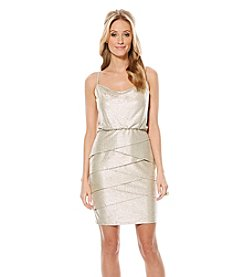 Laundry by Shelli Segal® Metallic Draped Front Blouson Dress With Tiered Skirt