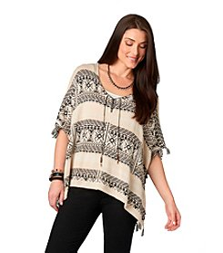 Democracy Fringe Stripe Poncho