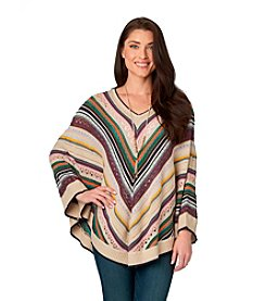 Democracy Open Stitch Chevron Poncho