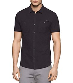 Calvin Klein Men's Short Sleeve Liquid Cotton Button Down Shirt
