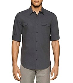 Calvin Klein Men's Long Roll-Up Sleeve Button Down Shirt