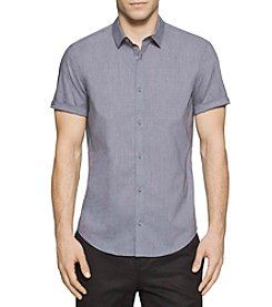 Calvin Klein Men's Short Sleeve Dobby Dot Button Down Shirt