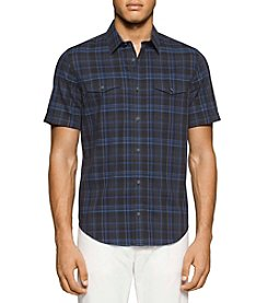 Calvin Klein Men's Short Sleeve Large Plaid Button Down Shirt