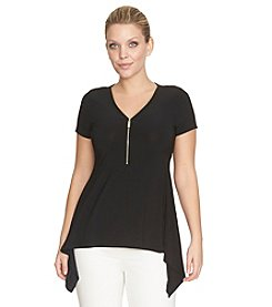 Chaus V-Neck Zip Front Sharkbite Top