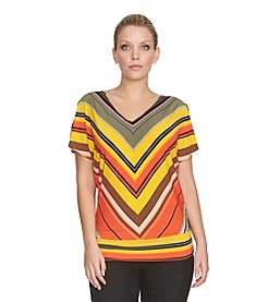 Chaus Dolman Sleeve Tanzania Stripe V-Neck Top