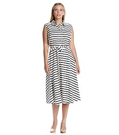 Julian Taylor Plus Size Tie Belt Knit Dress