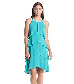 S.L. Fashions Chiffon Tiered Beaded Neckline Dress