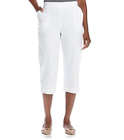 Alfred Dunner® White Now Solid Eyelet Capris