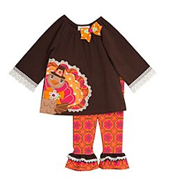 Rare Editions® Baby Girls' 2-Piece Thanksgiving Top And Leggings Set