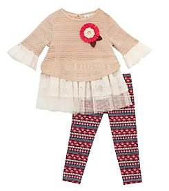 Rare Editions® Baby Girls' 2-Piece Crochet Lace Top And Leggings Set