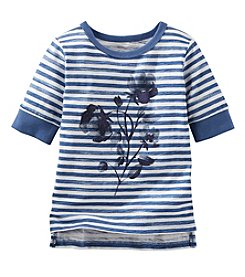 OshKosh B'Gosh® Girls' 2T-6X 3/4 Sleeve Striped Floral Tee