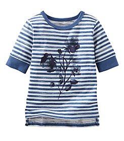 OshKosh B'Gosh® Girls' 2T-6X 3/4 Sleeve Striped Floral Tee