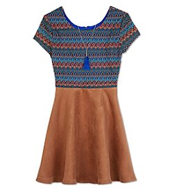 Amy Byer Girls' 7-16 Textured Bodice Dress With Necklace