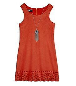 Amy Byer Girls' 7-16 Laser Cut Shift Dress With Necklace
