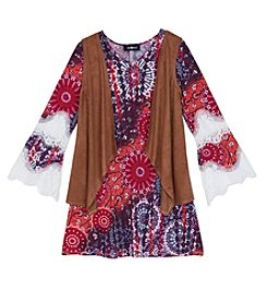 Amy Byer Girls' 7-16 Abstract Shift Dress With Vest