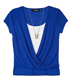 Amy Byer Girls' 7-16 Short Sleeve Wrap Layered Top With Necklace