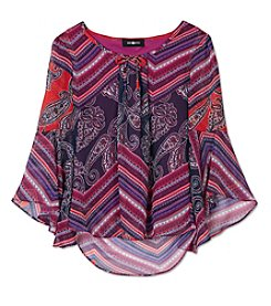 Amy Byer Girls' 7-16 3/4 Sleeve Abstract Top
