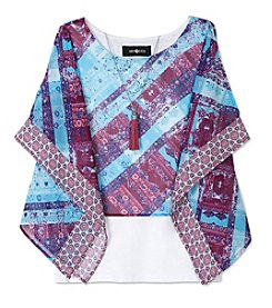 Amy Byer Girls' 7-16 Cold Shoulder Abstract Layered Top With Necklace