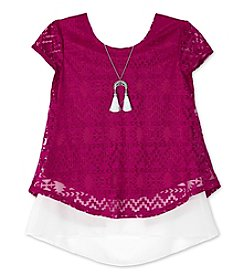 Amy Byer Girls' 7-16 Short Sleeve Burnout Layered Top With Necklace