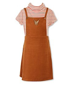 Speechless® Girls' 7-16 Striped Tee And Jumper With Necklace