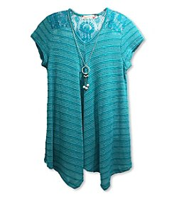 Speechless® Girls' 7-16 Short Sleeve Slub Lace Top With Necklace