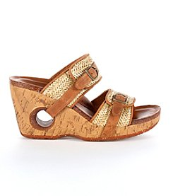Rocky 4EurSole® Double Strap Wedge Slide Sandals