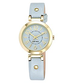 Nine West® Goldtone Easy Reader Light Blue Strap Watch