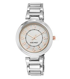 Nine West® Silvertone Easy Reader Bracelet Watch