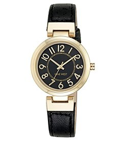 Nine West® Goldtone Easy Reader Black Strap Watch