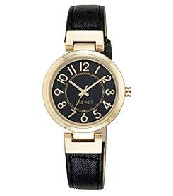 Nine West® Goldtone Easy Reader Black Strap Watch