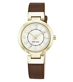 Nine West® Goldtone Easy Reader Brown Strap Watch