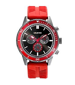 Unlisted by Kenneth Cole® Men's Silvertone & Red Silicone Watch