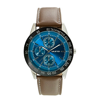 Unlisted by Kenneth Cole® Men's Blue Dial Brown Strap Wa