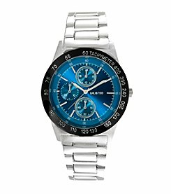 Unlisted by Kenneth Cole® Men's Blue Dial & Silvertone Bracelet Watch
