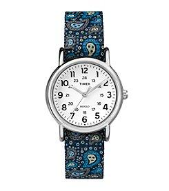 Timex® Women's Weekender Blue Paisley Nylon Slip-Thru Strap Watch