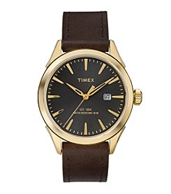 Timex® Men's Chesapeake Brown Leather Strap Watch