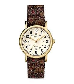 Timex® Women's Weekender Brown Paisley Nylon Slip-Thru Strap Watch