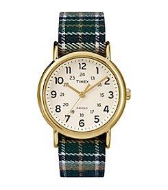 Timex® Unisex Weekender Blue Plaid Nylon Slip-Thru Strap Watch