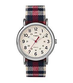 Timex® Unisex Weekender Red Plaid Nylon Slip-Thru Strap Watch